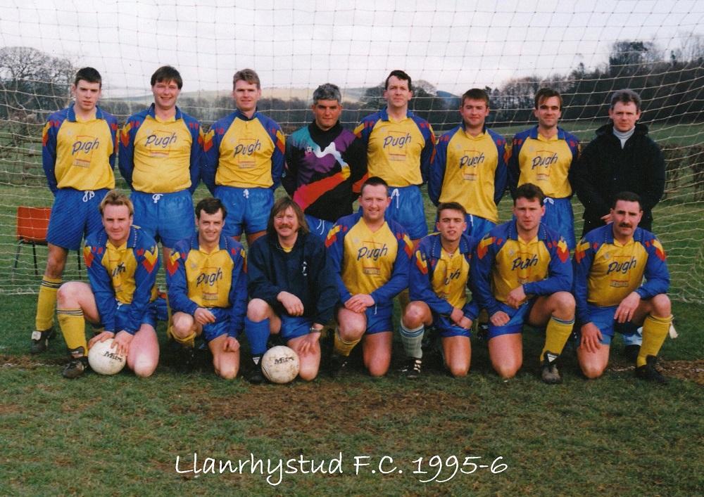 Llanrhystud Football Club team photo 1995-6 football season, Cambrian Football League.