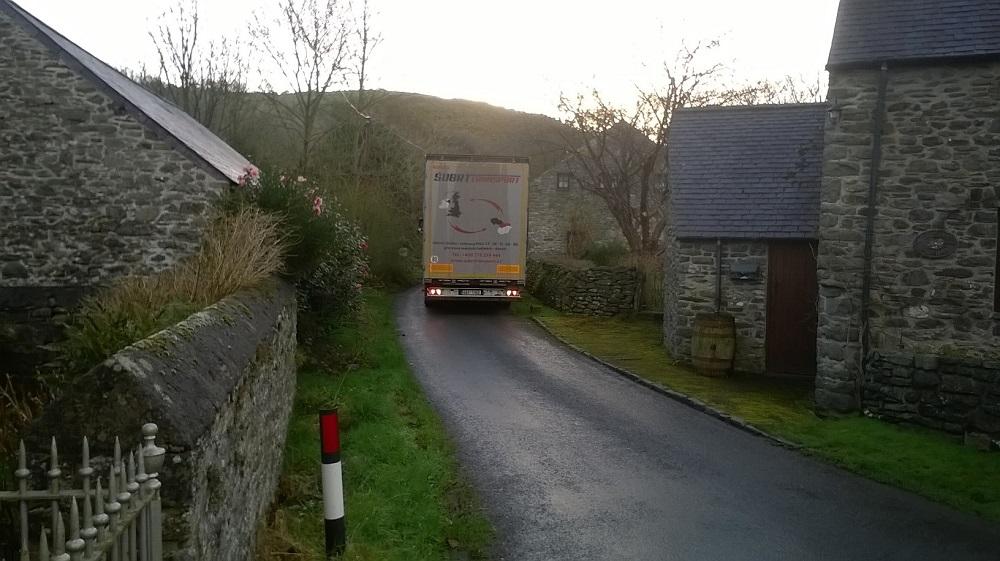 Subrt Transport lorry stuck in Cwm Mabws, Llanrhystud, Ceredigion.