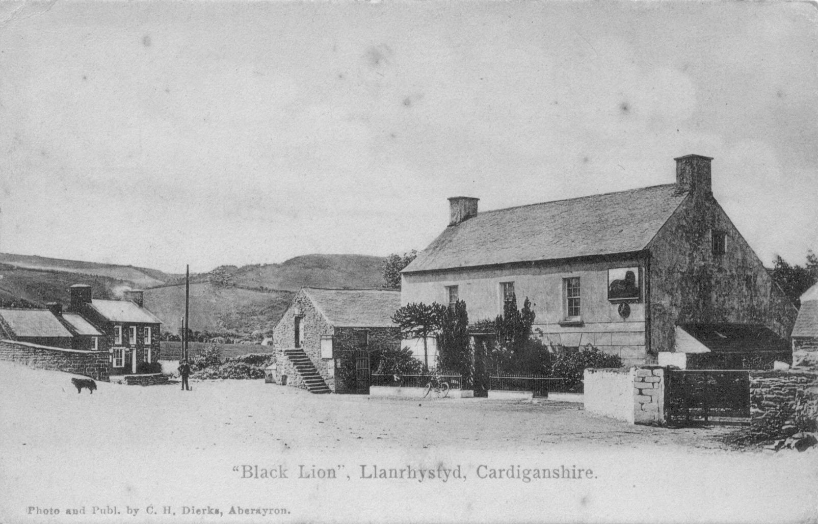 """Black Lion"", Llanrhystyd, Cardiganshire. Photo and Published by C.H. Dierks, Aberayron."